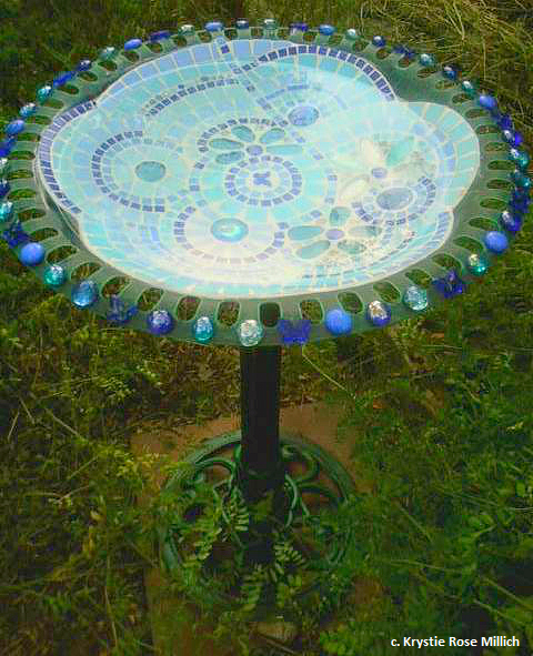 krystie rose millich denver tile mosaic artwork outdoor mosaic artwork bird bath